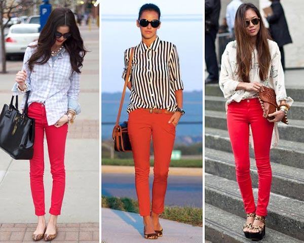 Cómo combinar pantalones rojos