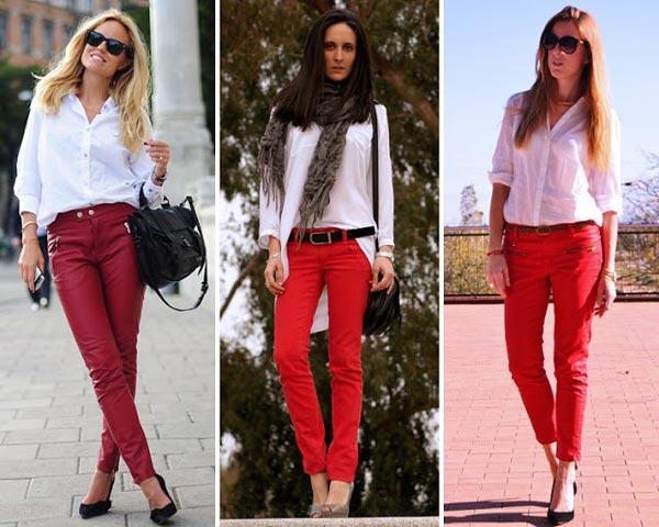 Cómo combinar pantalones rojos con camisa blanca