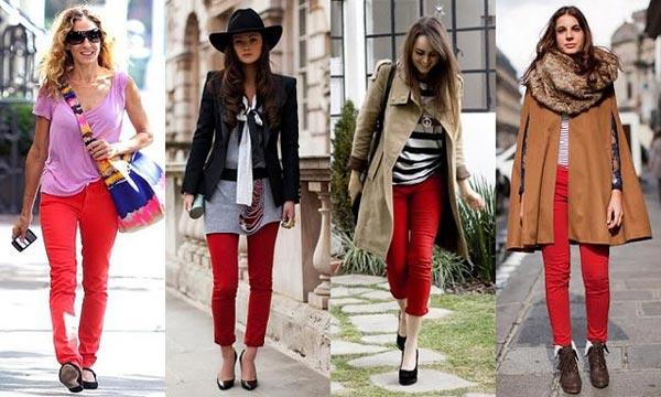 Cómo combinar pantalones rojos con chaqueta