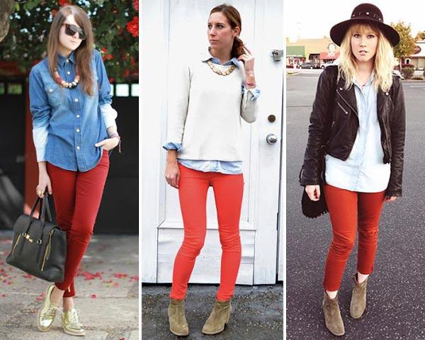 Cómo combinar pantalones rojos con tejano