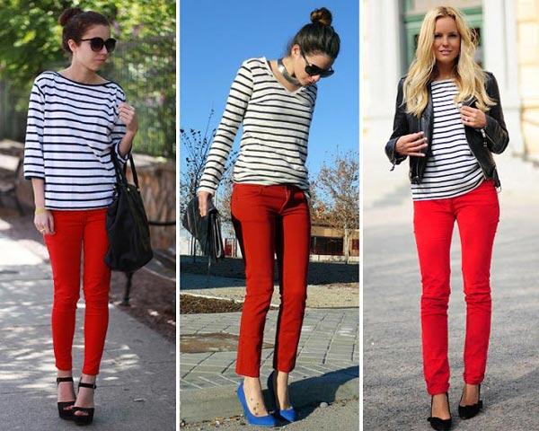 Cómo combinar pantalones rojos con rayas
