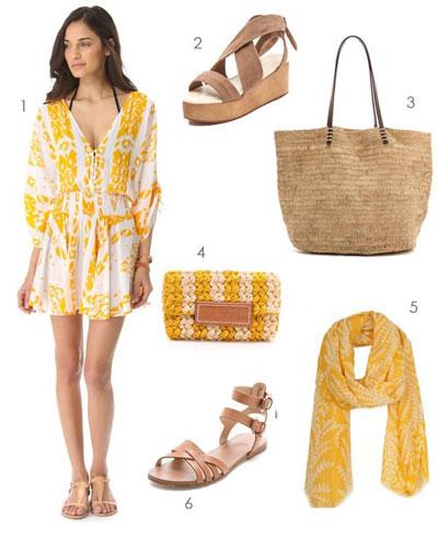 Cómo combinar ropa amarilla con color beige