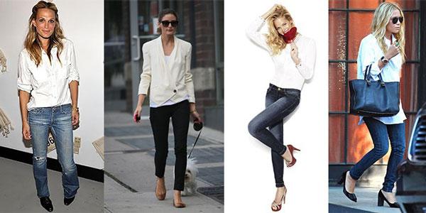Cómo combinar ropa básica - Jeans y camisa blanca