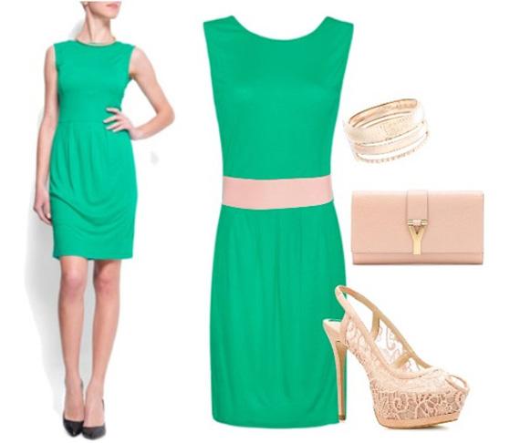 Cómo combinar un vestido verde - color nude