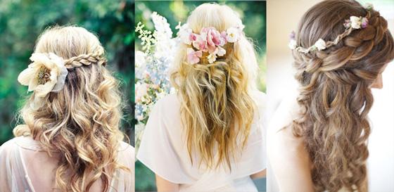 Peinados para bodas - Recogido con flores
