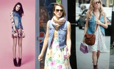 Cómo combinar chaleco vaquero con vestido floral