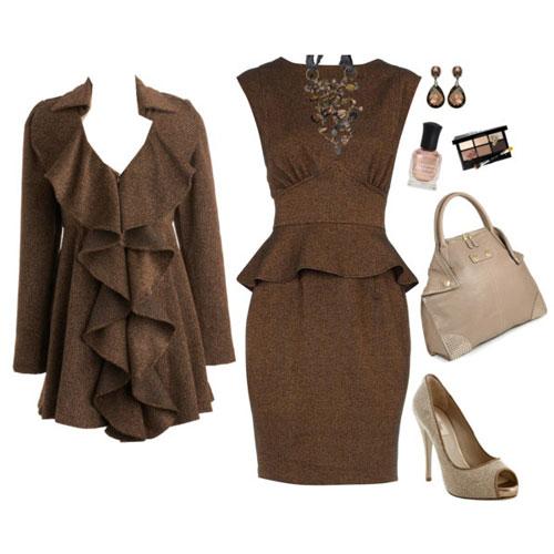Cómo Combinar vestido de fiesta marrón con beige