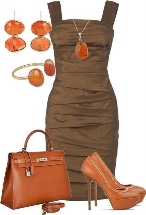Cómo Combinar vestido de fiesta marrón con naranja