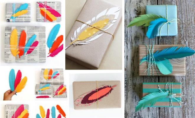 Como envolver regalos de forma original - Plumas