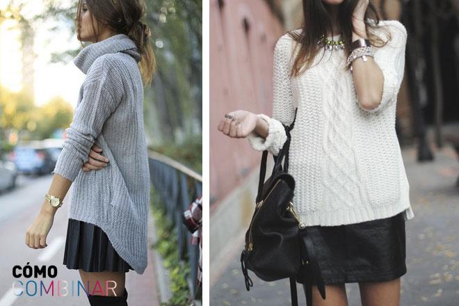 Cómo combinar falda de cuero con jersei
