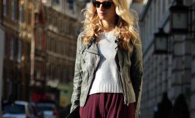 Street Style - Falda XXL burdeos