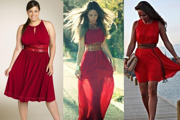 combinar un vestido rojo