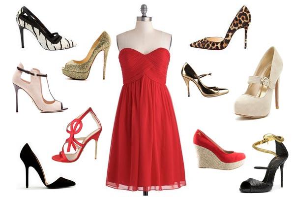 Zapatillas para vestido largo rojo