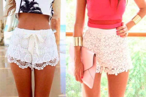 Cómo combinar shorts de encaje
