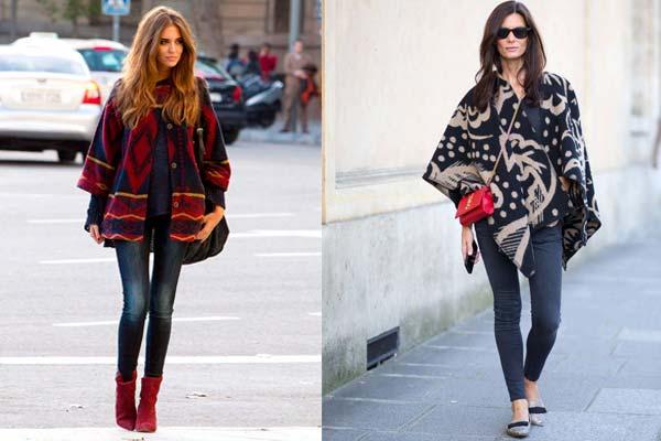 Combinar-un-poncho-con-jeans