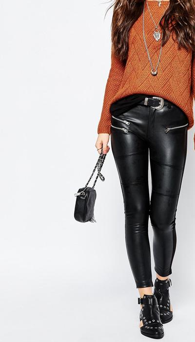 Pantalones cuero sintético