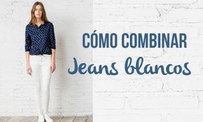 cómo combinar jeans blancos