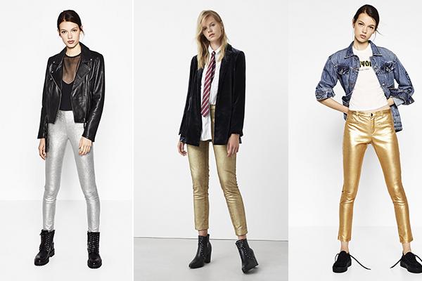 pantalones de colores metalizados