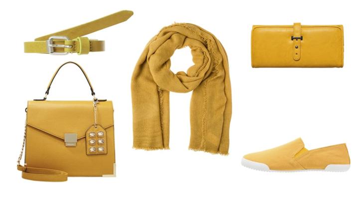 cómo combinar el color mostaza: accesorios