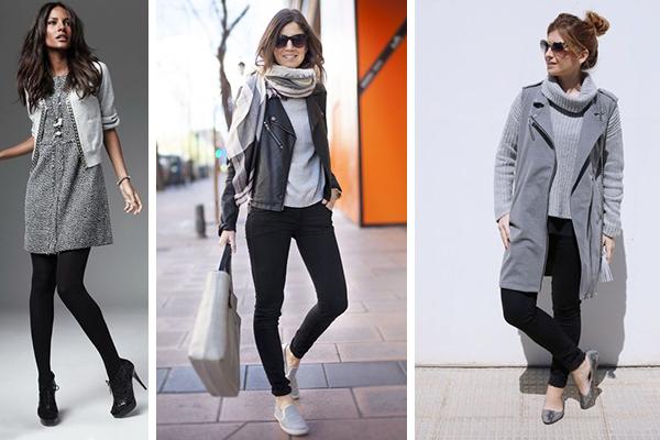 como combinar el color gris con blanco y negro