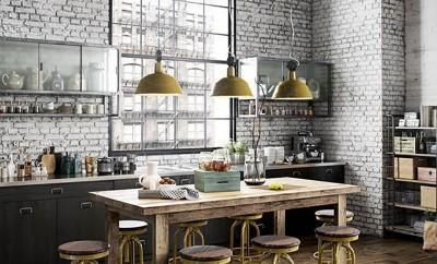 cocina con decoración industrial