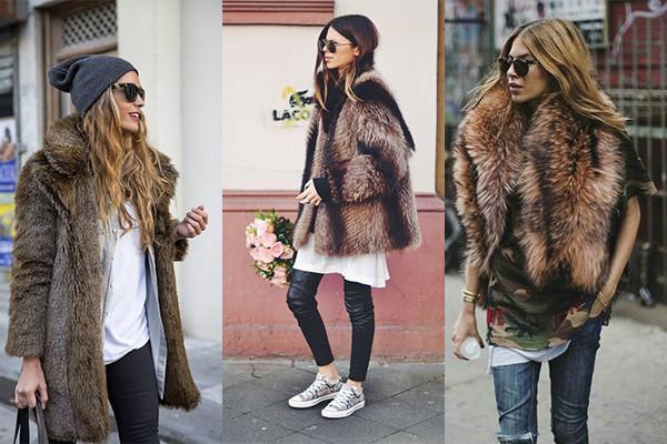 cómo combinar el layering con un abrigo de pelo