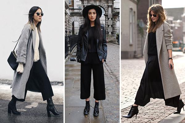Cómo combinar botas y botines con un culotte en invierno