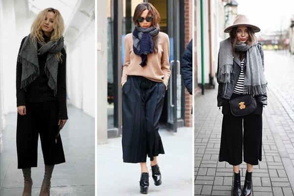 Cómo combinar bufandas con el culotte en invierno
