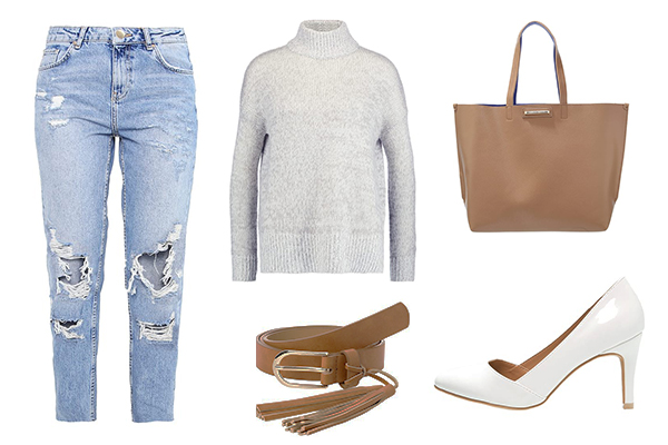 Look casual con stilettos blancos