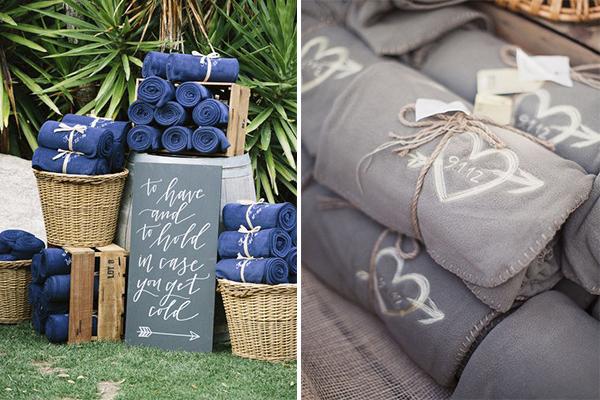 Mantas bordadas para bodas de invierno