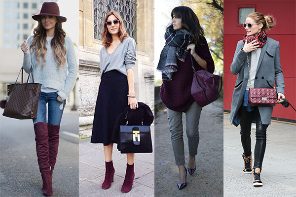 Looks en color burdeos y gris
