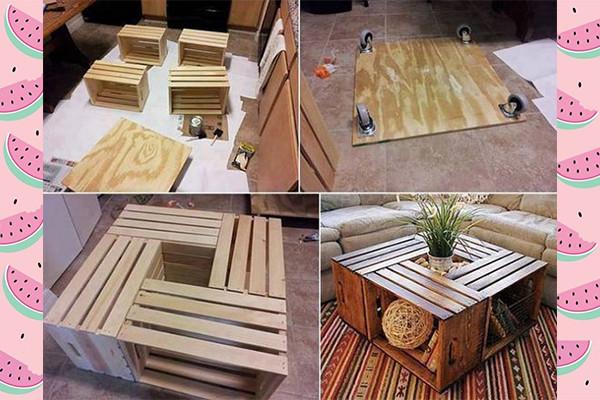 mesa con cajas de frutas