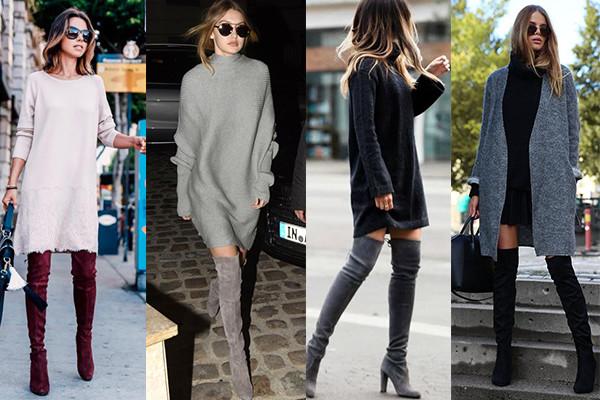 vestido de punto y botas mosqueteras