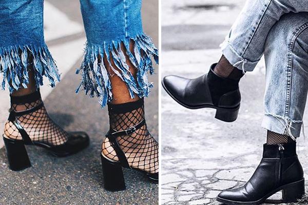 Botines y zapatos combinados con calcetines de red