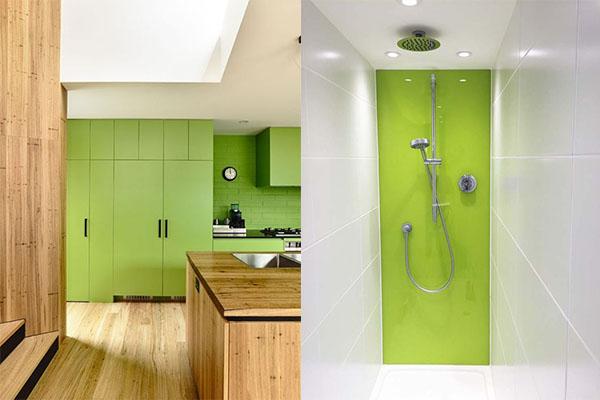 color greenery en la cocina y el baño