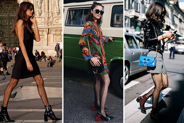 Outfits con medias de rejilla combinada