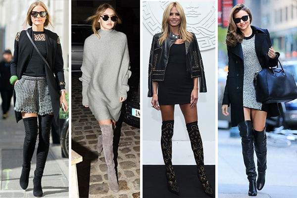 Cómo combinar botas altas thigh high: look celebrties