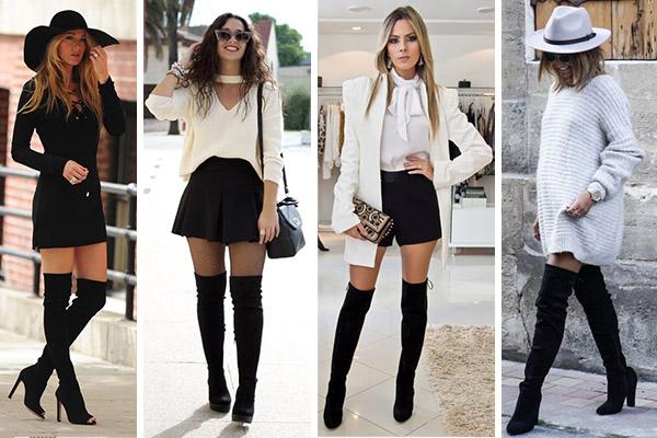 Cómo combinar botas altas thigh high con prendas cortas