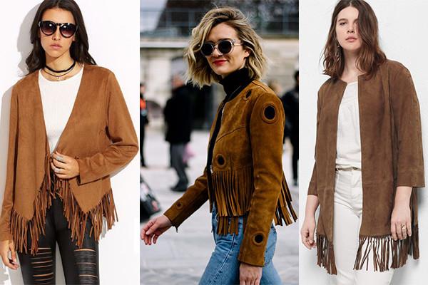chaqueta de flecos para un look clasico