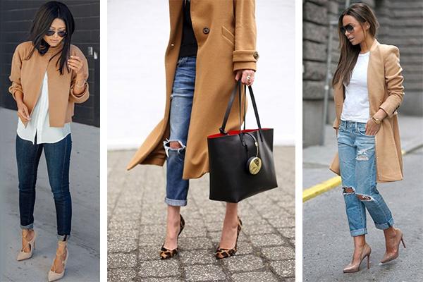 Combinar el color camel con jeans