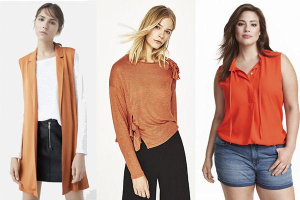 cómo combinar el color naranja en tops