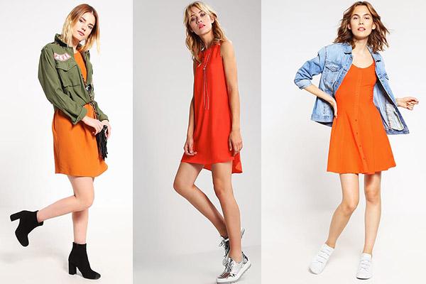cómo combinar el color naranja en vestidos