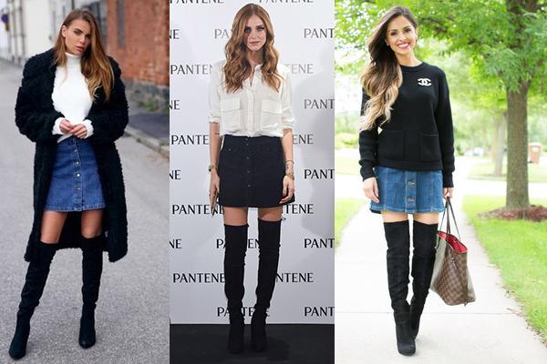 falda con botones y botas