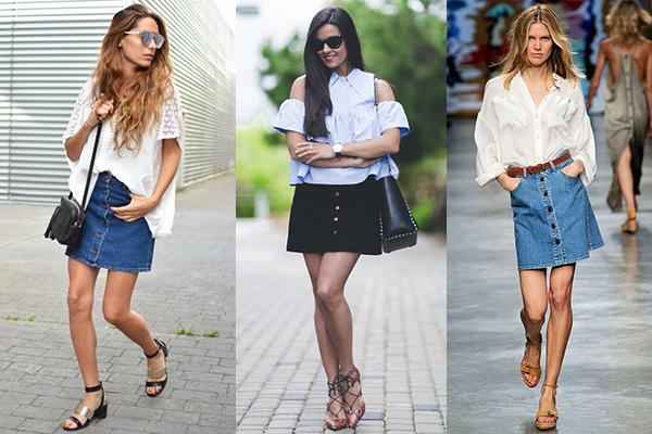 falda con botones y camisa