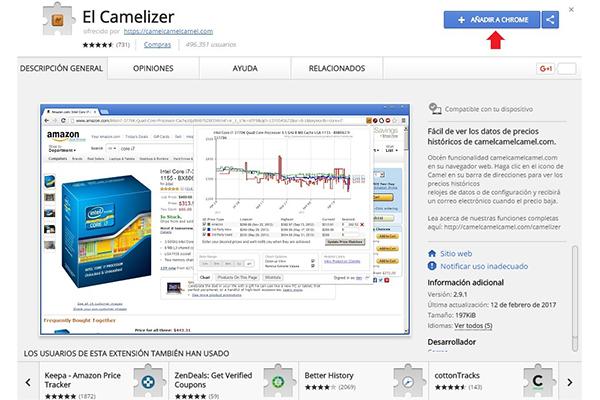 Comparar precios con Camelizer para comprar ropa en Amazon