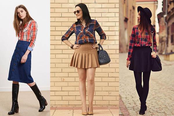 cómo combinar camisas de cuadros con falda