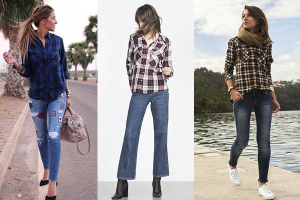cómo combinar camisas de cuadros con jeans