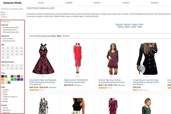 comprar ropa en amazon con filtros