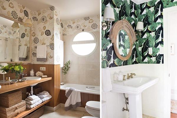 decorar con papel pintado baños