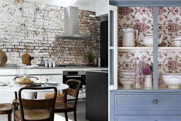 decorar con papel pintado la cocina